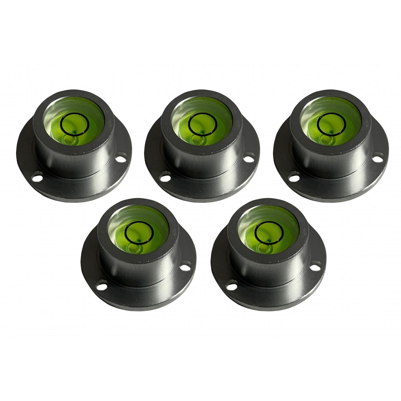 Set von 5 runden Wasserwaagen mit Aluminiumgehäuse (25,5 x 16,5