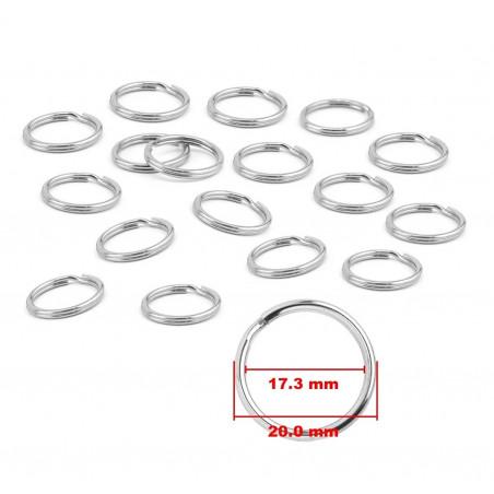 Set of 180 key rings (20 mm, nickel plated)
