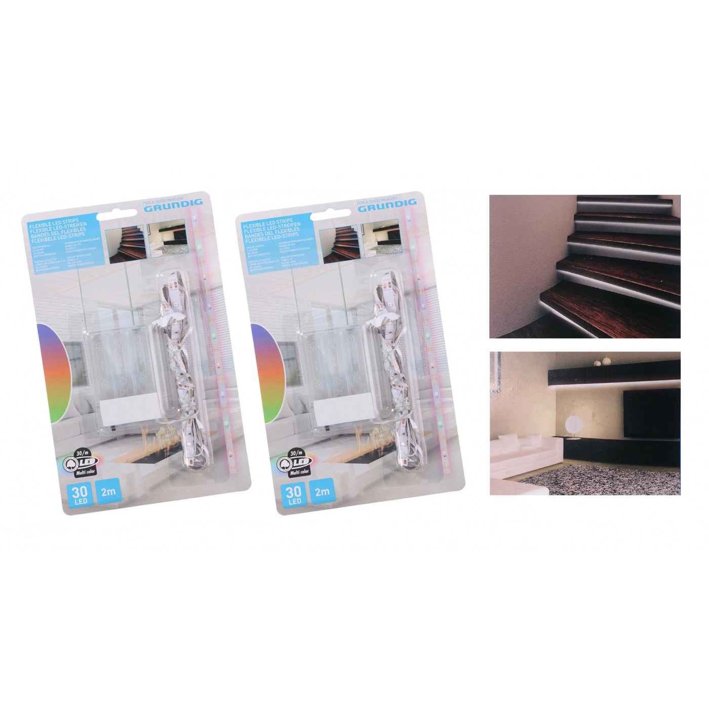 LED strips koel wit, 2x2 meter (IP20, op 6 AA batterijen)