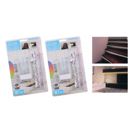 Bandes LED blanc chaud, 2x2 mètres (IP20, sur 6 piles AA)