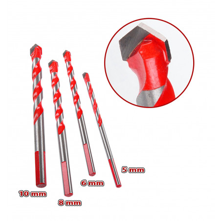 Set of 4 glass, tile, mirror and metal drill bits (5, 6, 8, 10 mm)  - 1