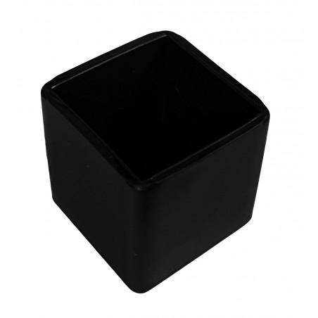 Jeu de 32 couvre-pieds de chaise flexibles (extérieur, carré, 22 mm, noir) [O-SQ-22-B]  - 1