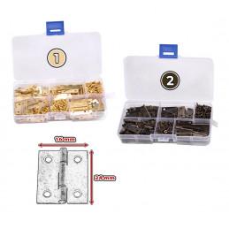 Set of 100 metal hinges (gold, 24x16 mm), delivered in a