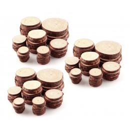 Set van 10 schijven hout (diameter: 10-12 cm, dikte: 1 cm)