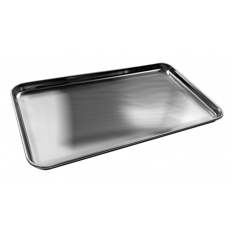Stainless steel serving plate (26x15 cm, 12 mm height)