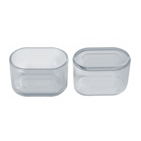 Set of 32 silicone chair leg caps (outside, oval, 25x50 mm