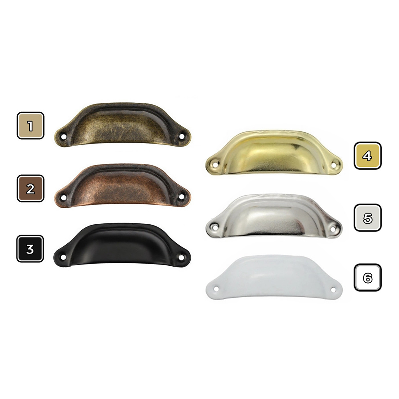 Lot de 8 poignées en fer pour meubles: 2. cuivre  - 1