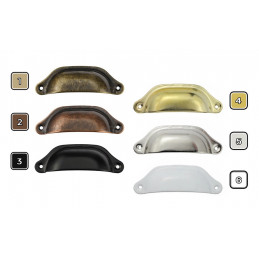 Set von 8 Eisengriffen für Möbel: 5. Silber