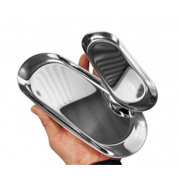 Stainless steel serving plate (18x8.5 cm, 10 mm height, silver)