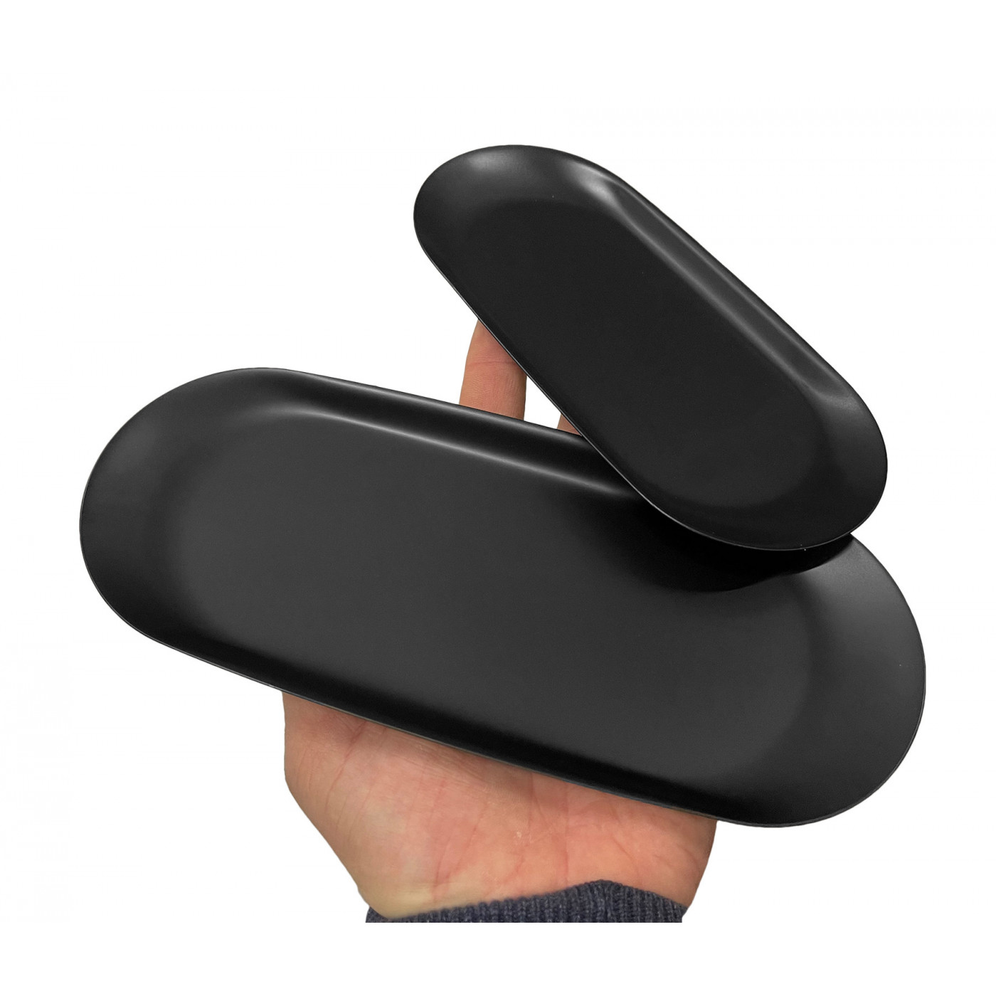 Roestvrijstalen serveerschaal (18x8,5 cm, 10 mm hoog, zwart)  - 1