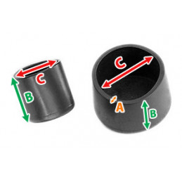 Set of 32 flexible chair leg caps (outside, round, 50 mm, black) [O-RO-50-B]  - 2