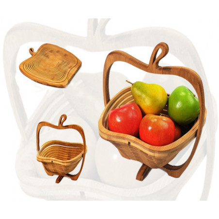 Corbeille à fruits en bois déco (pliable)