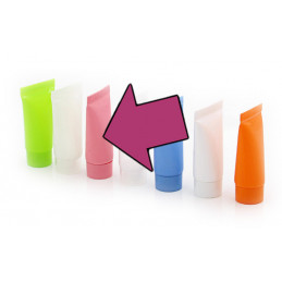 Set of 50 refillable flacons/tubes, pink, 10 ml, with screw caps