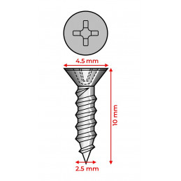 Set of 300 mini screws (2.5x10 mm, countersunk, bronze color)  - 2