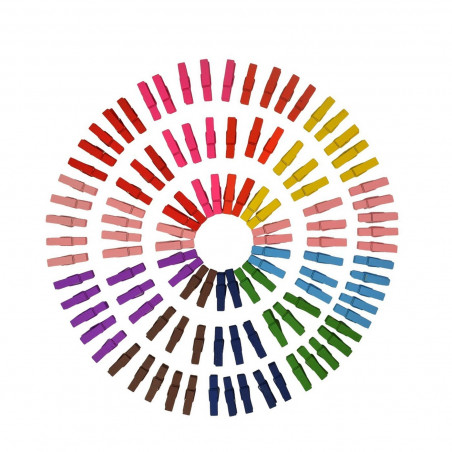 Set of 300 colored micro clothes pins (25 mm, wood)