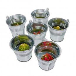 Set of 10 small metal buckets (4.2x5.2x6 cm, silver)